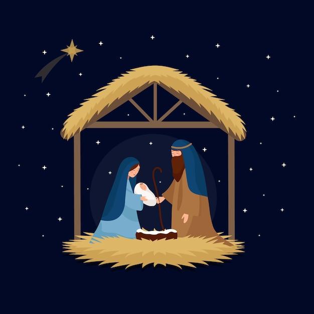 フラットなデザインのキリスト降誕のシーンのコンセプト 無料ベクター