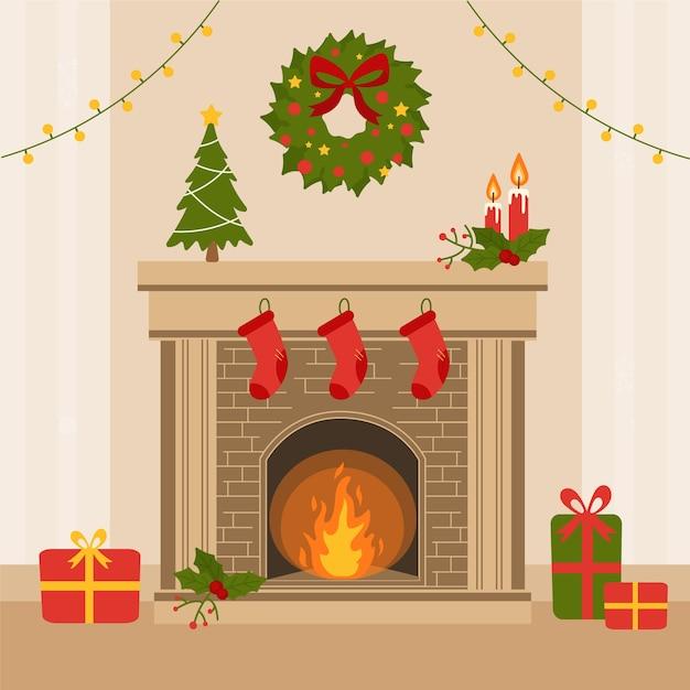 Плоский дизайн рождественский камин Бесплатные векторы