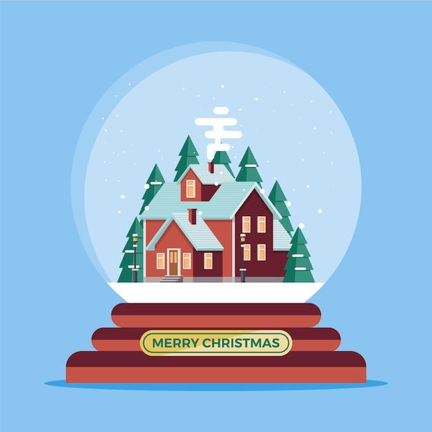 フラットなデザインのクリスマス雪玉グローブ 無料ベクター