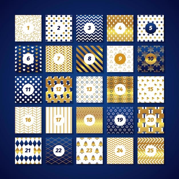 Праздничный золотой календарь появления Бесплатные векторы