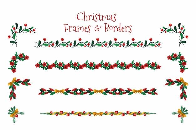 フラットなデザインのクリスマスフレームとボーダー 無料ベクター