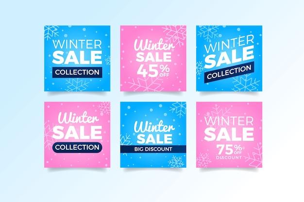 Розовые и голубые зимние продажи постов в социальных сетях Бесплатные векторы