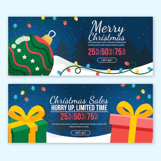 Плоский дизайн рождественские продажи баннеров шаблон Бесплатные векторы