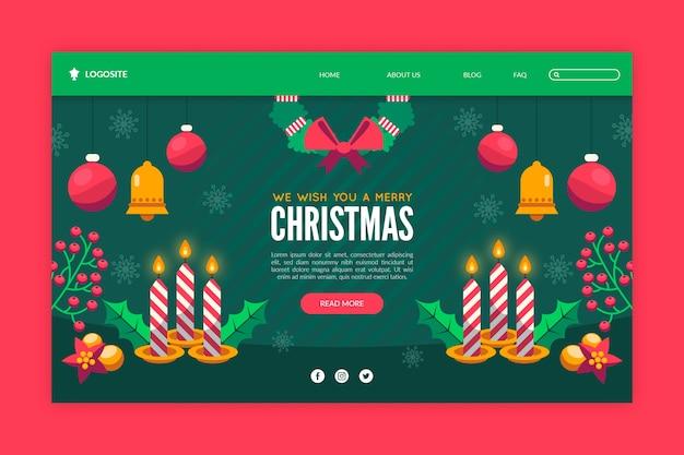 フラットなデザインのクリスマスランディングページ 無料ベクター