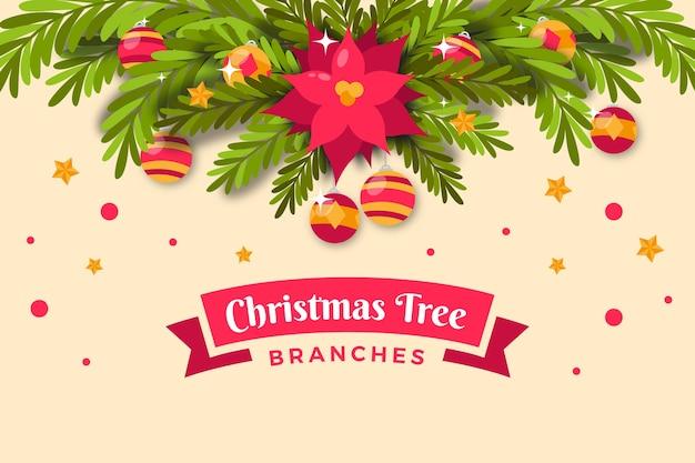 フラットなデザインのクリスマスツリーの枝の背景 無料ベクター