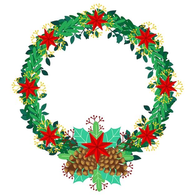 フラットなデザインのクリスマスリース 無料ベクター