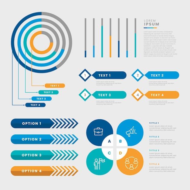 Набор плоских инфографики элемент Бесплатные векторы
