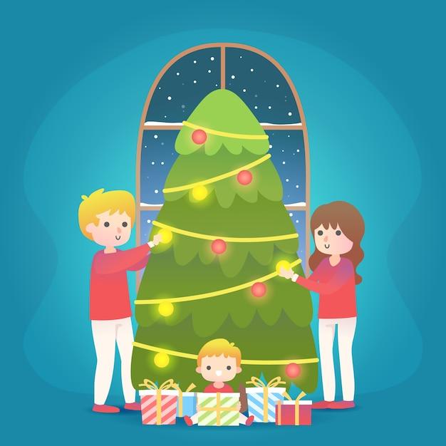 フラットなデザインのクリスマス家族シーン 無料ベクター