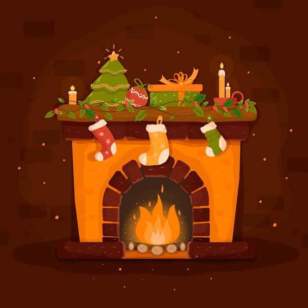 Нарисованная рукой сцена рождественского камина Бесплатные векторы