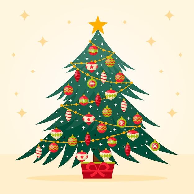 ビンテージクリスマスツリーの背景色 無料ベクター