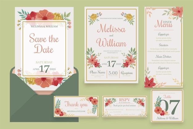 花の結婚式のひな形のセット 無料ベクター
