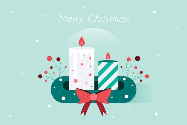 手描きのクリスマスキャンドルの背景 無料ベクター