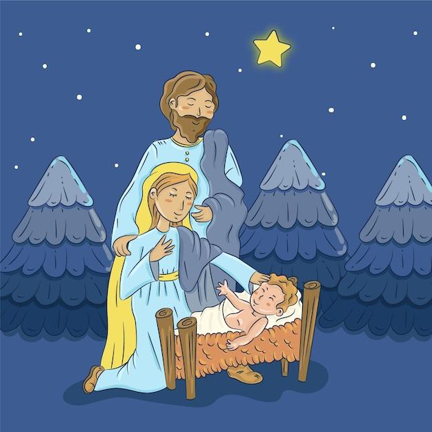 手描きのキリスト降誕のシーンイラスト 無料ベクター