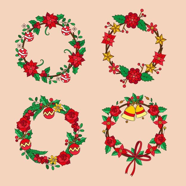手描きのクリスマスの花と花輪のコレクション 無料ベクター