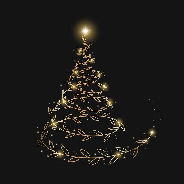 抽象的なゴールデンクリスマスツリーの背景色 無料ベクター