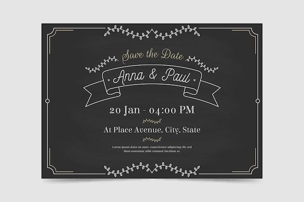 レトロな結婚式の招待状のテンプレート 無料ベクター