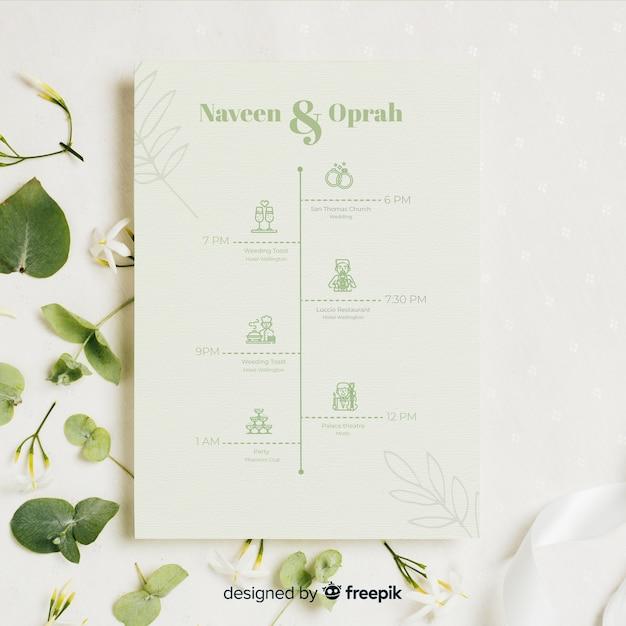 結婚式のアイコンの自然なコレクション 無料ベクター