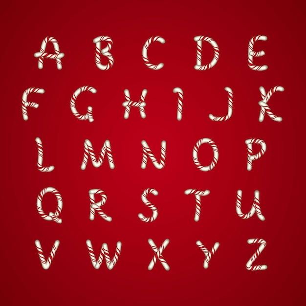 Рождественский алфавит Бесплатные векторы