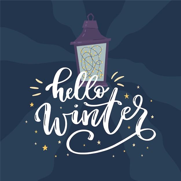 こんにちは、ランプと冬のレタリング 無料ベクター