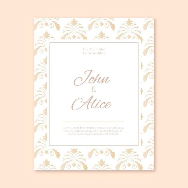 繊細なダマスク織の結婚式の招待状のテンプレート 無料ベクター