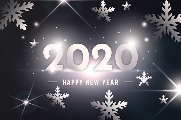 銀の新年の背景 無料ベクター