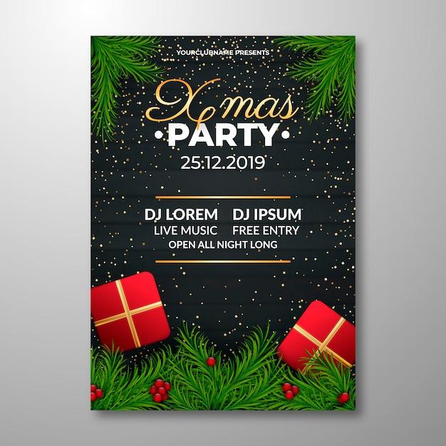 Реалистичная рождественская вечеринка постер шаблон Бесплатные векторы