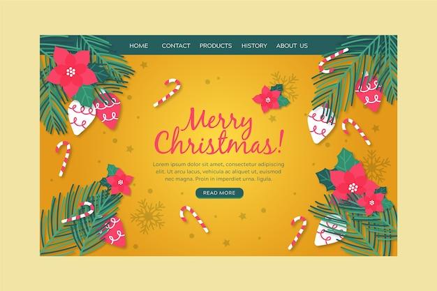 手描きクリスマスランディングページテンプレート 無料ベクター
