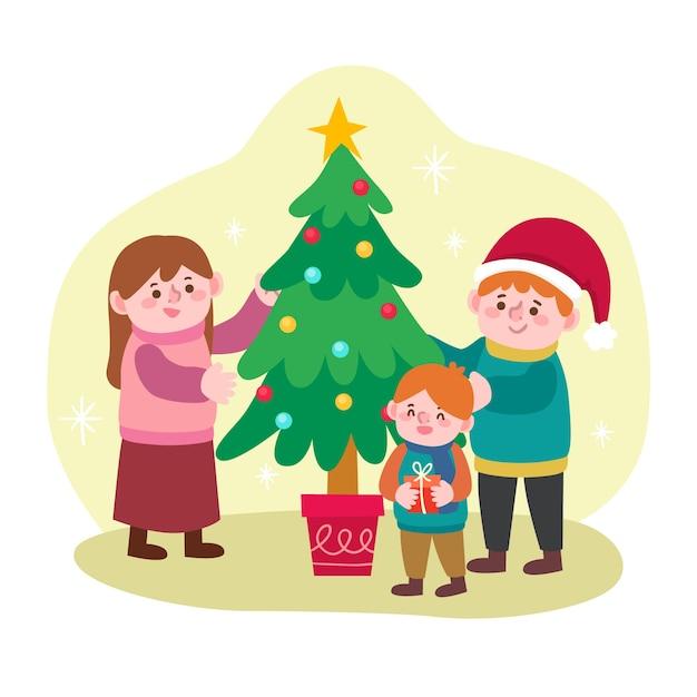 手描きクリスマス家族シーン 無料ベクター