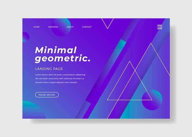 最小限の幾何学的スタイルのランディングページ 無料ベクター