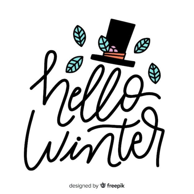 こんにちは、冬のレタリングと葉とシルクハット 無料ベクター