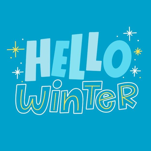 こんにちは、輝く星と冬のレタリング 無料ベクター