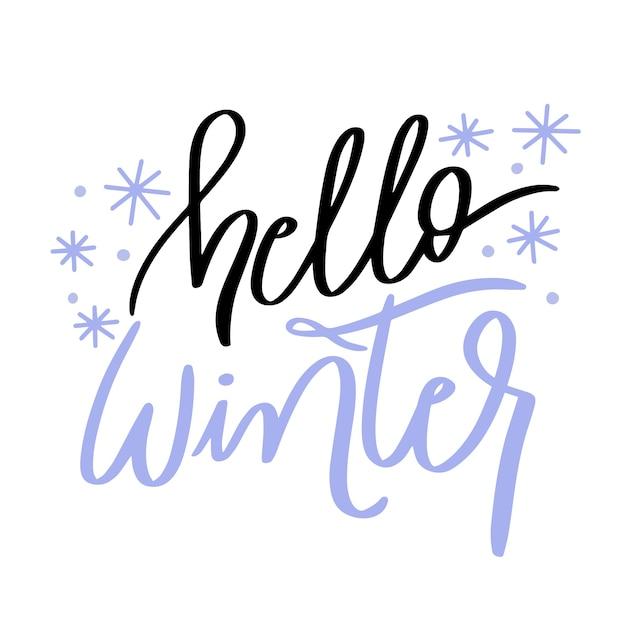 こんにちはかわいい小さな雪の冬のレタリング 無料ベクター