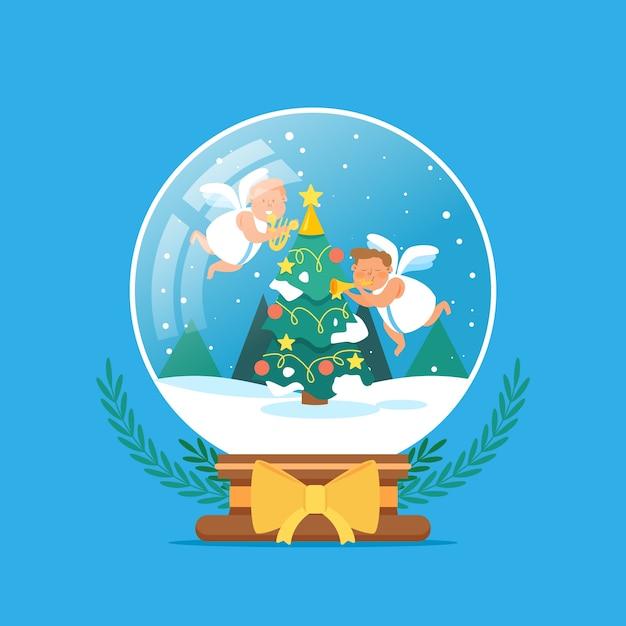 手描きクリスマス雪玉グローブ 無料ベクター