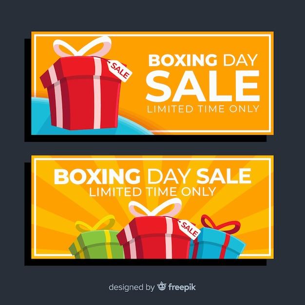 Упакованные подарочные коробки для продажи в день подарков Бесплатные векторы