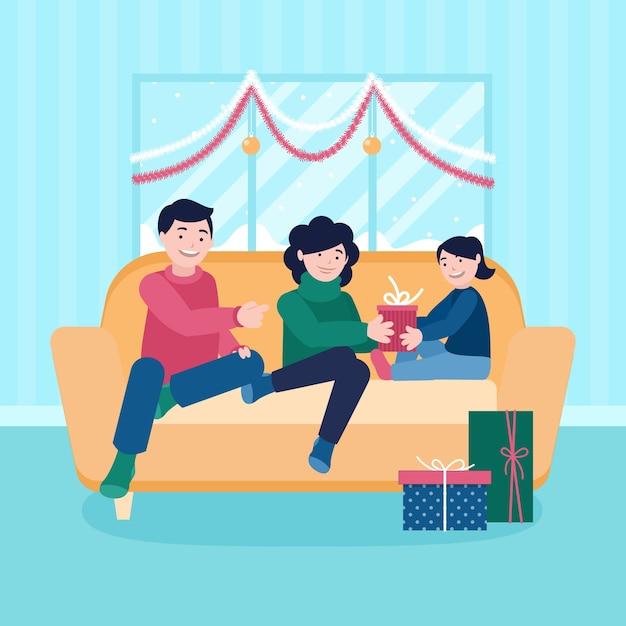 Рождественская семейная иллюстрация в плоском дизайне Бесплатные векторы