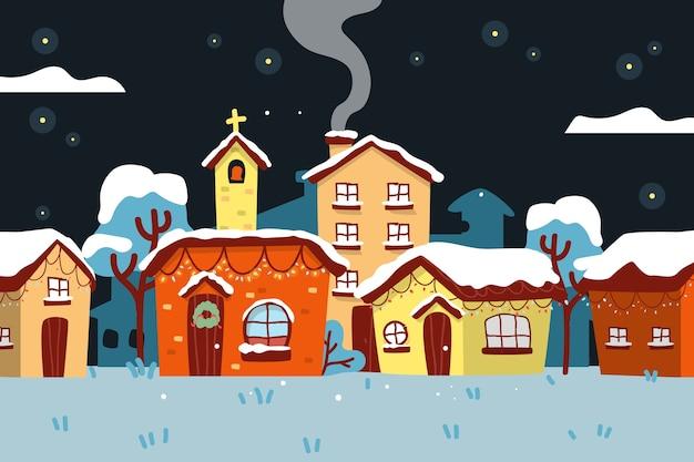 Ручной обращается рождественский городок в снежную ночь Бесплатные векторы