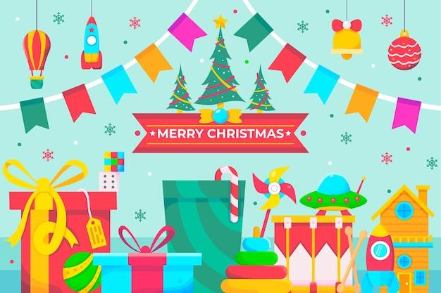 子供のおもちゃで幸せなクリスマスの夢 無料ベクター