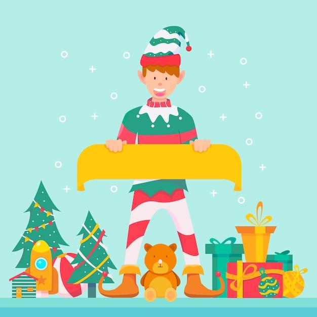 Рождественский эльф персонаж держит пустой баннер Бесплатные векторы