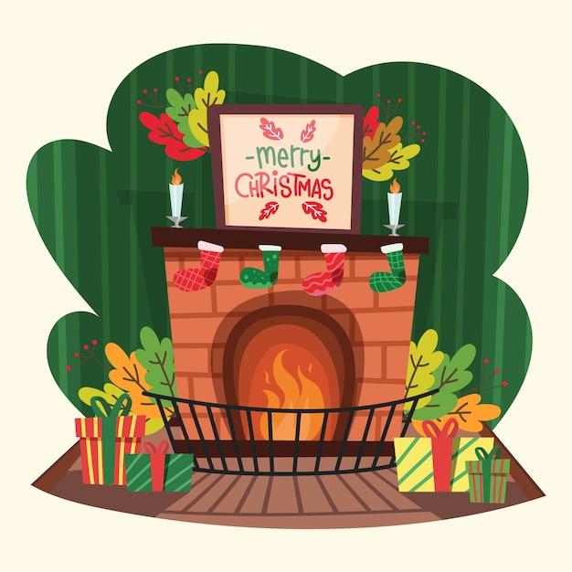 手描きクリスマス暖炉シーン 無料ベクター