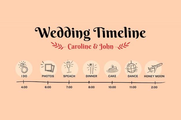 Веселые свадебные сроки рисованной Бесплатные векторы