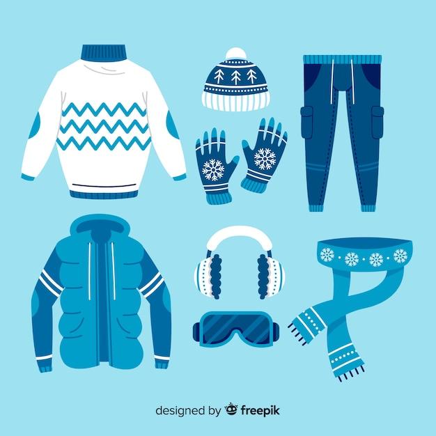 Идеи нарядов для зимних дней плоский дизайн Бесплатные векторы