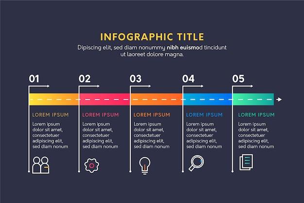 フラットなデザインタイムラインインフォグラフィック 無料ベクター
