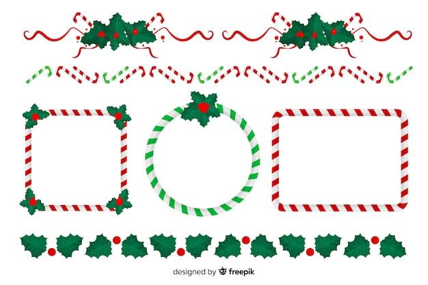 フラットなデザインのクリスマスフレームとボーダーコレクション 無料ベクター
