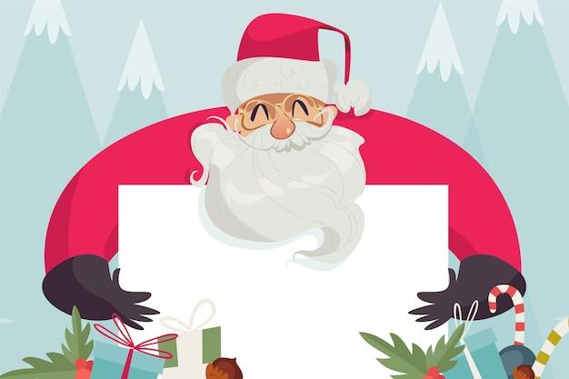 白紙の横断幕を持ってクリスマスサンタクロース 無料ベクター