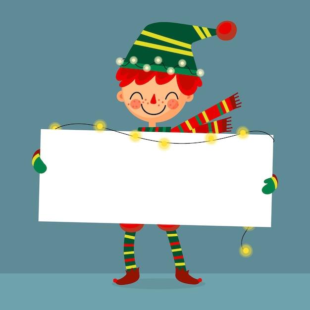 白紙の横断幕を保持しているクリスマスのエルフ 無料ベクター