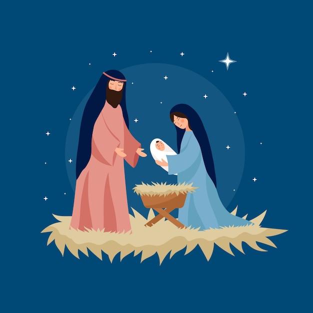 フラットなデザインのキリスト降誕のシーンイラスト 無料ベクター
