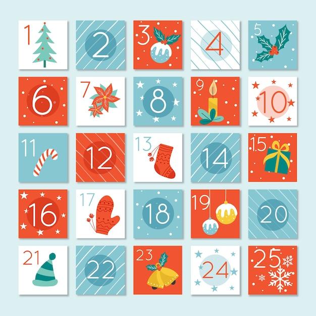 アドベントカレンダーフラットデザインテンプレート 無料ベクター