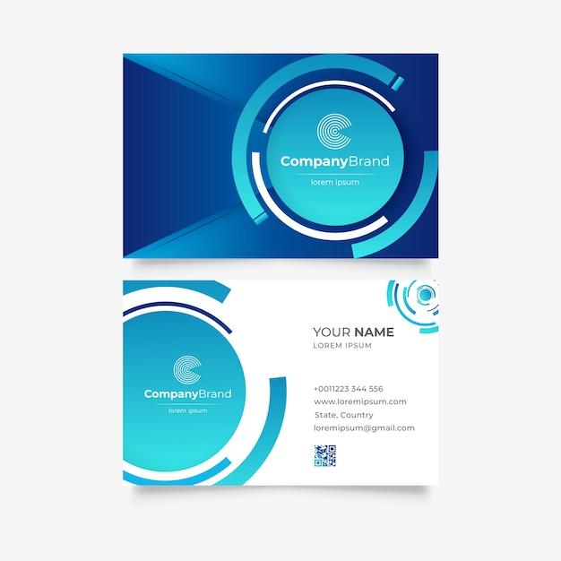 Шаблон синий монохромный визитной карточки Бесплатные векторы