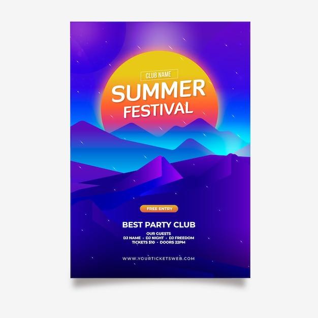Летний фестиваль футуристического плаката Бесплатные векторы