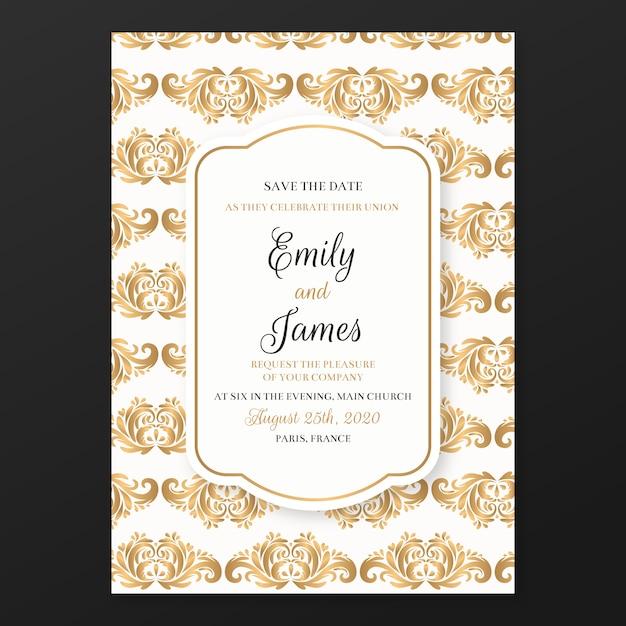 結婚式の招待状テンプレートシックなダマスク 無料ベクター